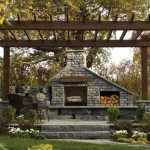 Outdoor Fireplace by Rosetta Hardscapes at Benson Stone in Rockford, IL