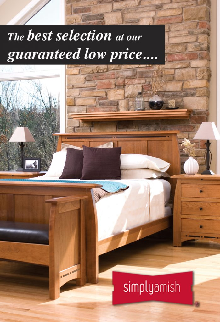 """Photo of a bedroom set with bed and side tables, and text that reads """"The best selection at our guaranteed low price..."""""""