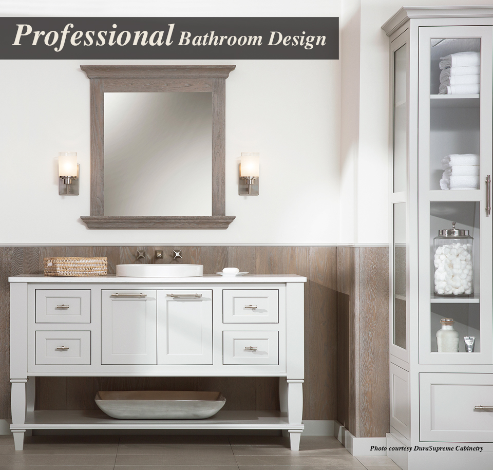 """This photo is of a remodeled bathroom with text that reads """"Professional Bathroom Design"""""""