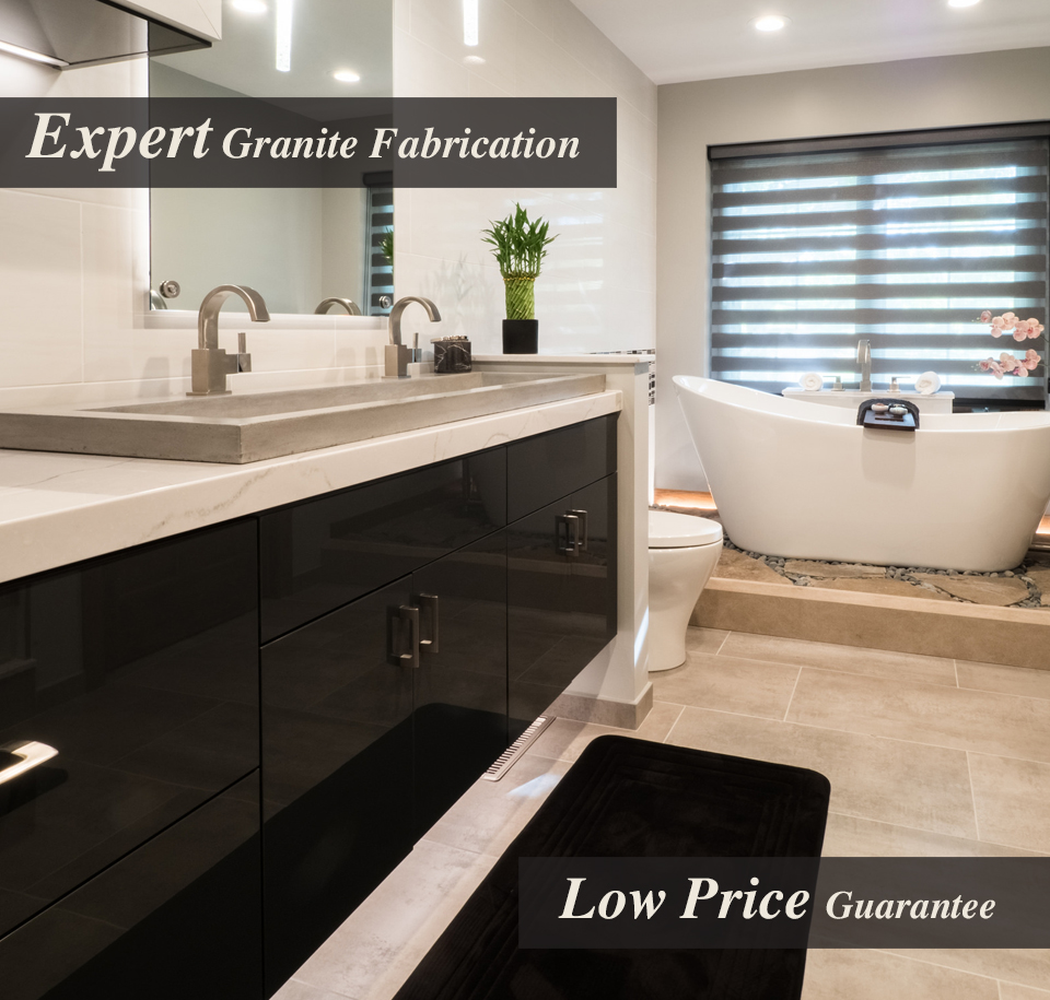 """This photo is of a bathroom remodeled by Benson Stone Company. The text reads """"Expert granite fabrication"""" and """"low price guarantee"""""""