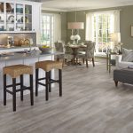 Seaport Surf vinyl tile in open kitchen, dining room and living room