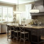 Kitchen with island and hanging lights