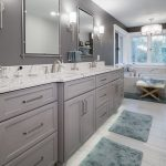 grey painted custom bathroom vanity cabinets with quartz countertop