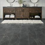 Charcoal luxury vinyl tile flooring bathroom
