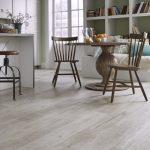 Beige LVT flooring in a kitchen