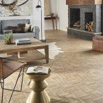 Light wood look luxury vinyl tile flooring in a living room