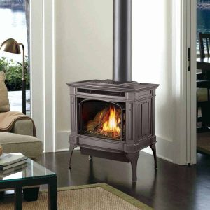 Freestanding wood-burning stove in living room