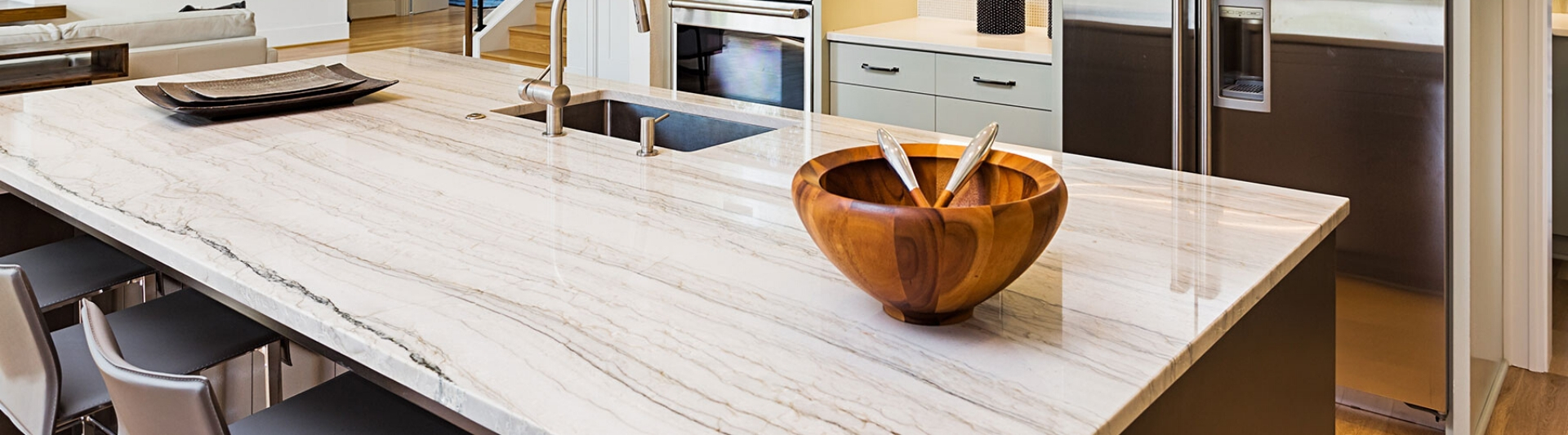 quartz countertop in kitchen with serving bowl