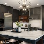 Dark cabinets look great along side this Brittanicca quartz countertops with white and gray veining