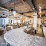 Rose Bay Quartz Countertops at bar at Grocers Table