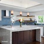 Saratoga quartz island and countertops in kitchen
