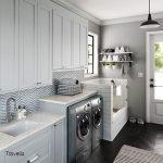 Travella quartz countertops shown in mudroom and laundry room