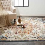 fall color vintage weathered area rug in living room