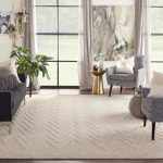 ivory textured area rug in sitting room