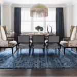 royal blue patterned area rug in dining room