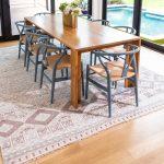 blush grey cream geometric area rug in dining room