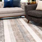 rustic neutral striped beige area rug in living room