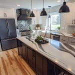 black and white marbled quartz kitchen countertop