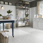 White basket weave floor tile