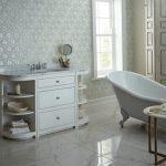 White marble bathroom floor tile and ornate wall tile