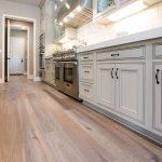Light hardwood floors in a kitchen