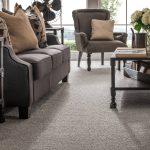 Grey loop carpeting in a living room