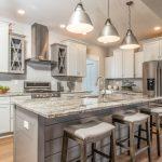 dove grey veining in granite kitchen countertop