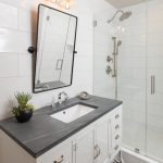 transitional bathroom vanity cabinet white with soapstone countertop