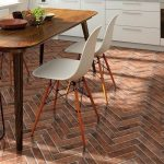 Red brick chevron kitchen floor tile