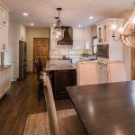 traditional kitchen remodel with hardwood flooring and rustic elegant pendant lighting