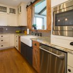 kitchen design with wooden cabinetry and farmhouse sink