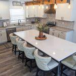 kitchen island with white quartz countertop