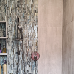 shower remodel with iridescent mosaic shower tile