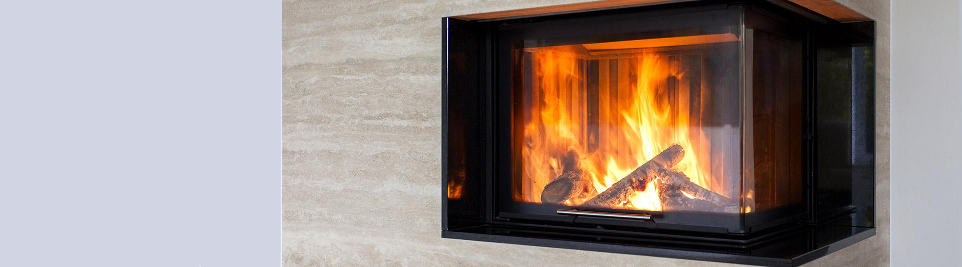 Fireplace glass doors at Benson Stone