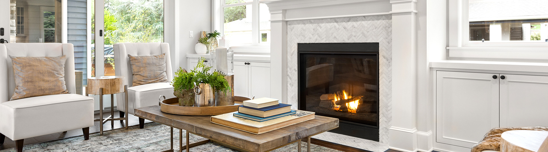 Fireplace in living room with fireplace insert